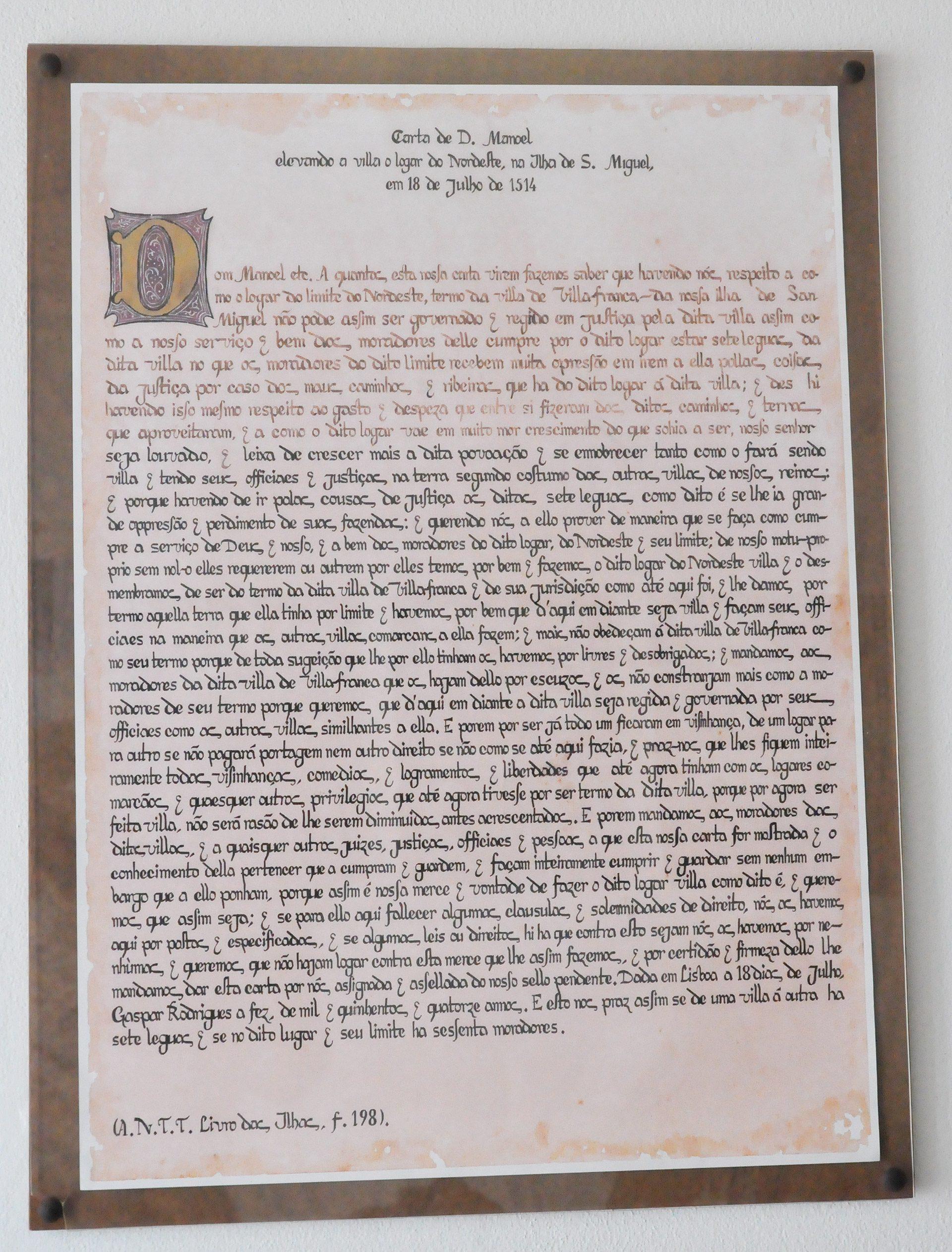 Carta Régia - D. Manuel I