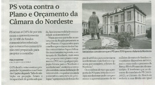 Açoriano Oriental_30 outubro 2018_PS vota contra o Plano e Orçamento da Câmara do Nordeste